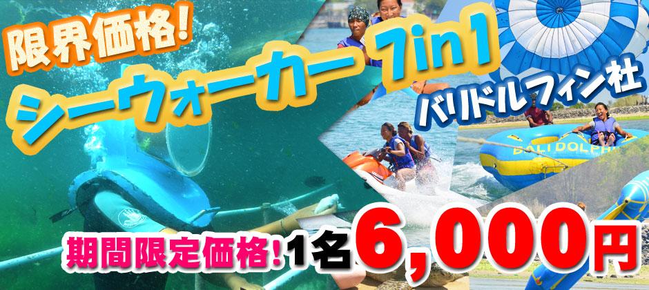 バリ島 限界価格!シーウォーカー・パッケージ7in1 Bali Dolphin社!期間限定価格!1名6,000円