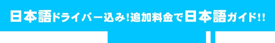 日本語ドライバー込み!追加料金で日本語ガイド!