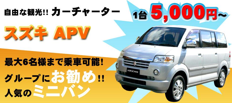 バリ島 自由な観光!カーチャーター!スズキAPV 1台5,000円~!最大6名様まで乗車可能!家族連れにお勧めのワンボックスカー