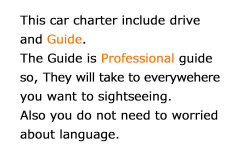This car charter include drive and guide. They will guide to everywehere you want to see.