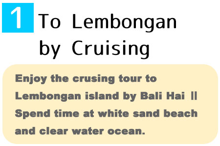 Enjoy the crusing tour to Lembongan island by Bali Hai. Spend time under the blue sky and clear water ocean.