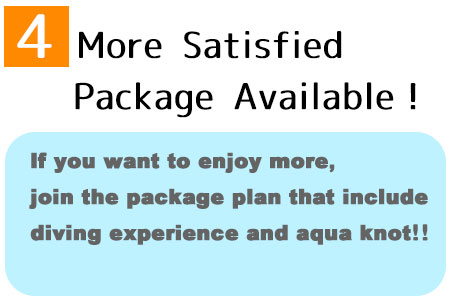 If you want to enjoy more, join the package plan that include diving experience and aqua knot