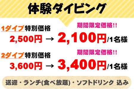 体験ダイビング 1ダイブ 特別価格Rp.300,000/1名→期間限定価格!Rp.250,000/1名 2ダイブ 特別価格Rp.425,000/1名→期間限定価格!Rp.400,000/1名