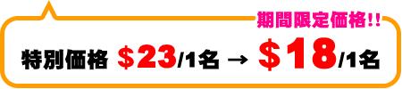 初心者パック 特別料金$23/1名→期間限定価格!$18/1名