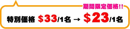 チョイスパック 特別料金$33/1名→期間限定価格!$23/1名