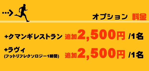 【オプション】+クマンギレストラン追加2,500円/1名、+ラヴィ マッサージ1時間追加2,500円/1名