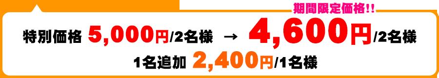 特別価格Rp600,000/2名→期間限定価格!Rp550,000/2名 1名追加Rp280,000/1名