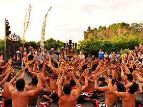 Dance held with Temple back ground