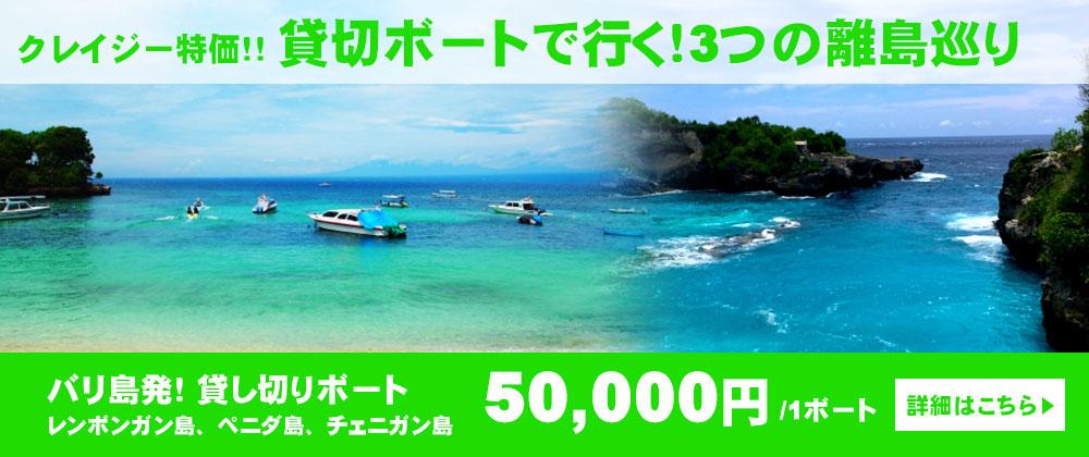レイジー特価!3つの離島巡り レンボンガン島、ペニダ島、チェニガン島