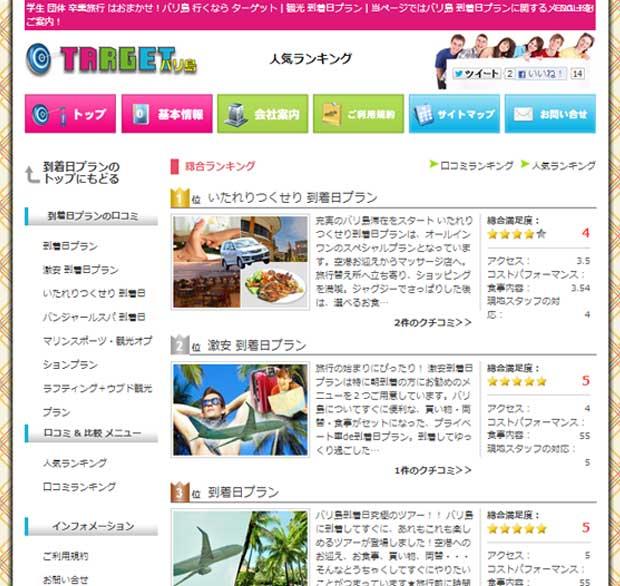 バリ島ターゲット到着日プラン人気ランキング登場!