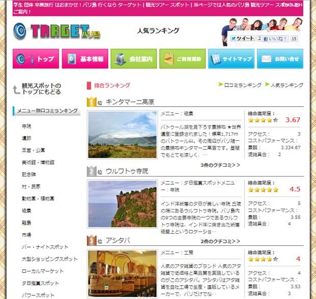 バリ島ターゲット観光スポットに人気ランキング登場!
