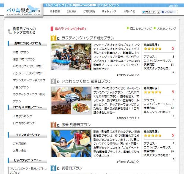 バリ島観光.com到着日プランに人気ランキング登場!