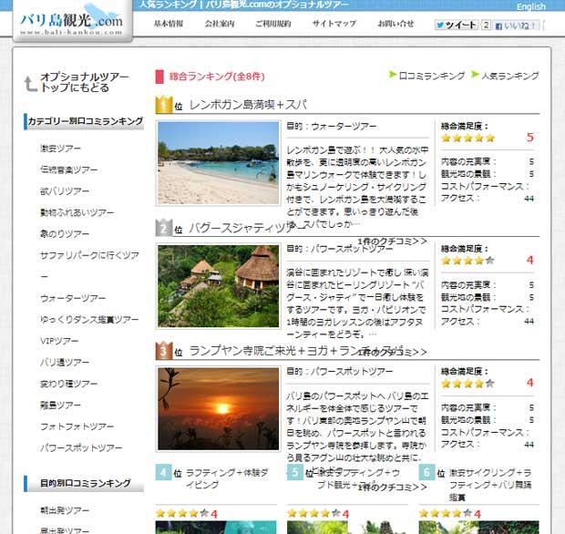バリ島観光.comのオプショナルツアーに人気ランキング登場!