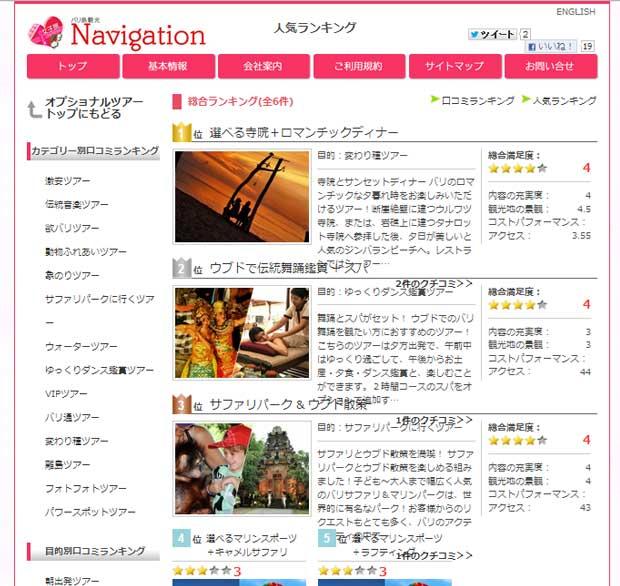 バリナビのオプショナルツアーに人気ランキング登場!