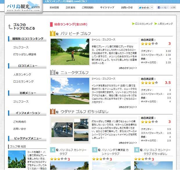 バリ島観光.comのゴルフに人気ランキング登場!