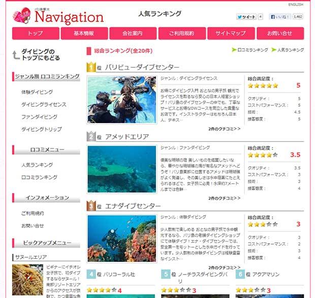 バリ島ナビゲーションのダイビングに人気ランキング登場!