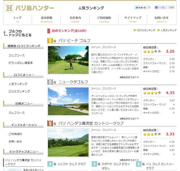 バリ島ハンターのゴルフに人気ランキング登場!