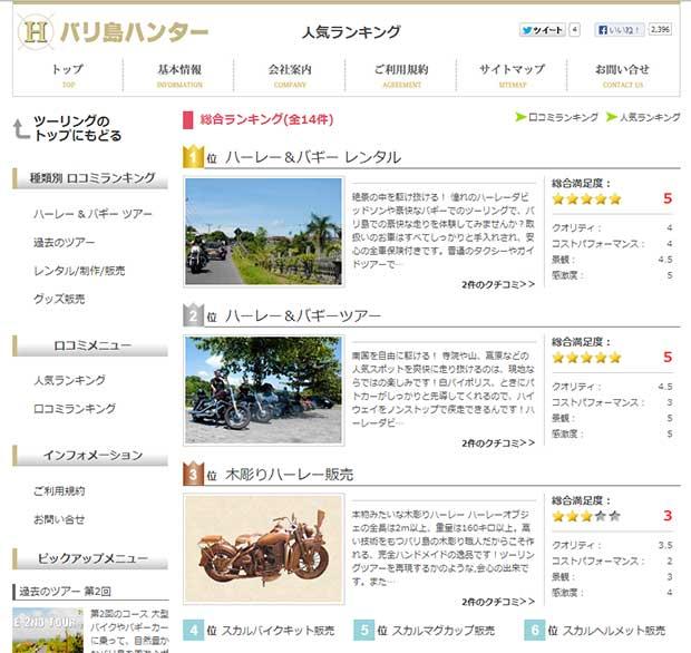 バリ島ハンターのツーリングに人気ランキング登場!