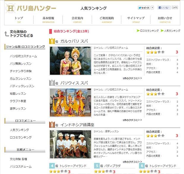 バリ島ハンターの文化体験に人気ランキング登場!