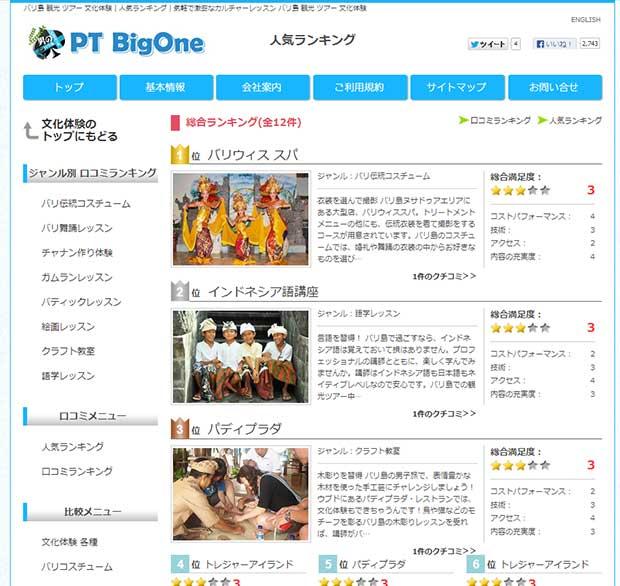 ビッグワンの文化体験に人気ランキング登場!
