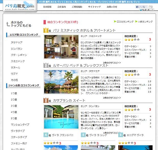 バリ島観光.comのホテル & ヴィラに人気ランキング登場!