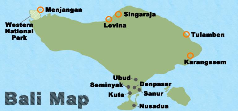 バリ島北部地図